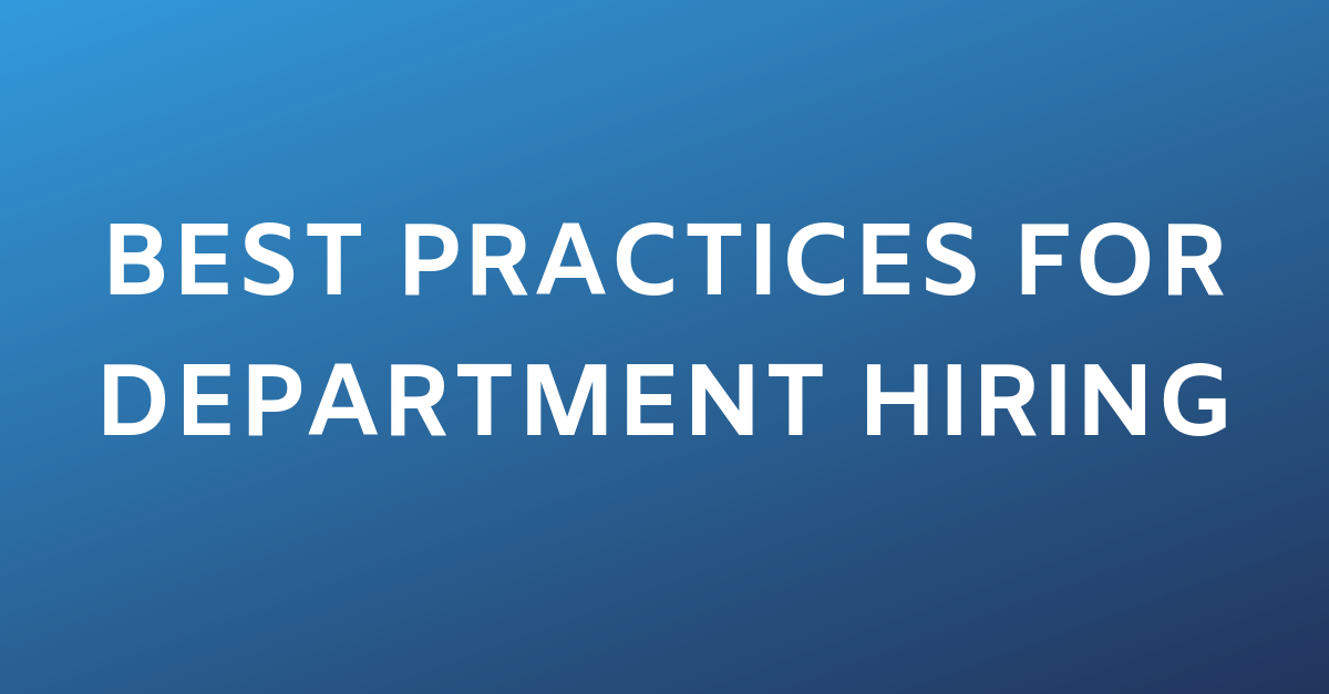 Best Practices for Departments